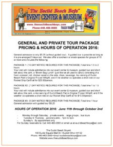Tour Center Hours of Operation & Pricing