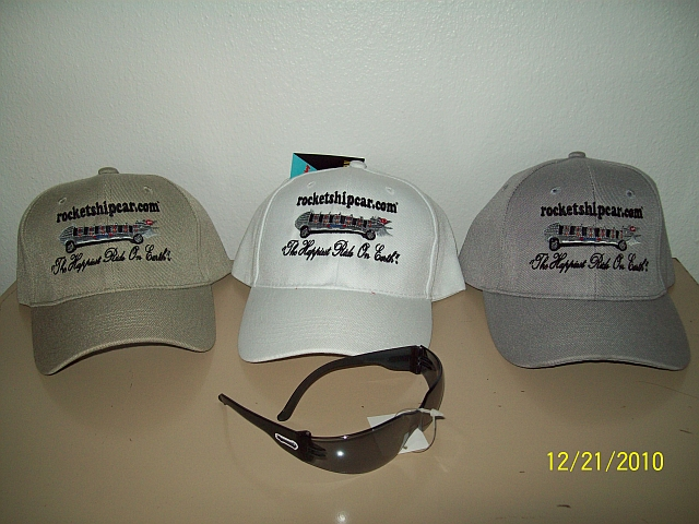 """These highly detailed embroidered Ball Caps say it all!  Pair them up with the official """"Rocket Ship Car""""® mirrored stylish sunglasses & you have a winning combination!"""